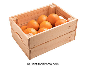 sweet orange in wooden box isolated on white background