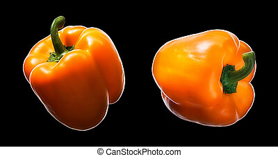 Sweet orange pepper isolated on black