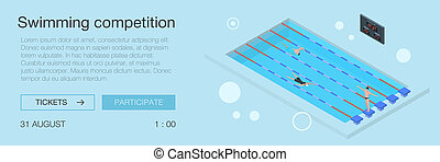 Swimming competition banner, isometric style