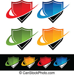 Shield icons with swoosh graphic elements.