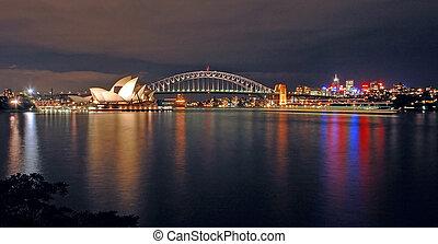 opera house, harbour bridge and north sydney at night; photo taken from royal botanic gardens