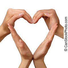 Female hands showing heart sign love concept
