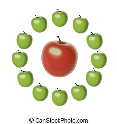 set of 12 green apples of the same shape and size set in a circle around a big red apple