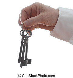 hand is holding a key ring with white background