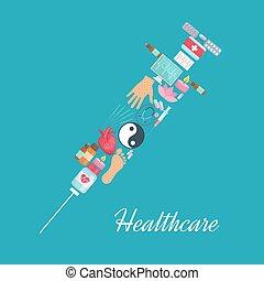 Syringe symbol, acupuncture medicine items poster