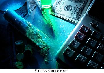 Drug trafficking concept.