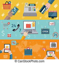 E-commerce banners flat set of online shopping digital marketing isolated vector illustration