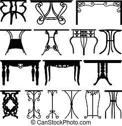 A set of unique table and desk design in silhouette.