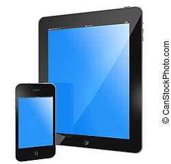 tablet PC iPad and iPhone black glossy, blue screen isolated on white