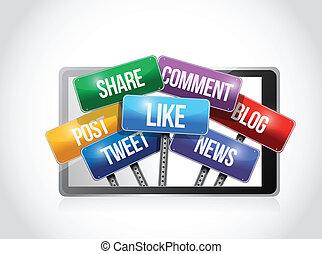 tablet with social media sign illustration