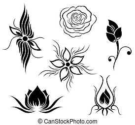 The black image of a tattoo and flower pattern with curls on a white background