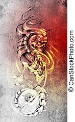 Tattoo art, animal monster and machine gears