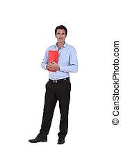 teacher standing on white background