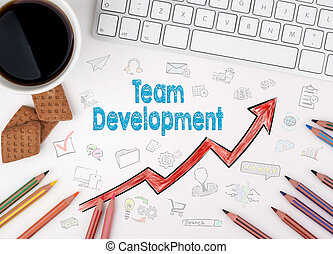 Team Development, Business Concept. White office desk