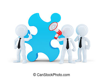 Team of business people and piece of a puzzle