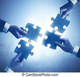 Teamwork and integration concept of a businesspeople