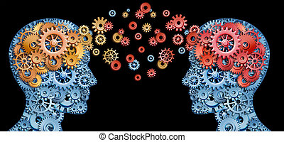 Teamwork and Leadership with education symbol represented by two human heads shaped with gears with red and gold brain idea made of cogs representing the concept of intellectual communication through technology exchange.