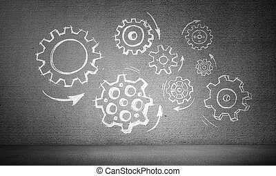 Teamwork concept by means of gear mechanism.