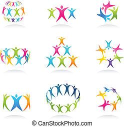 Teamwork abstract human icons