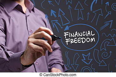 Technology, internet, business and marketing. Young business man writing word: financial freedom