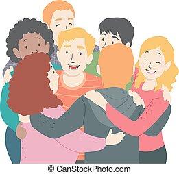 Teens Group Hug Illustration