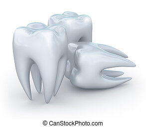 Teeth on white background. 3D image