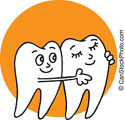 White healthy teeth are smiling, hugging, happy are not ill