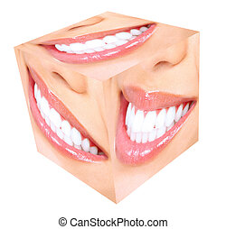 Teeth whitening. Woman smile.