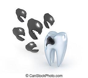 Teeth with cavities