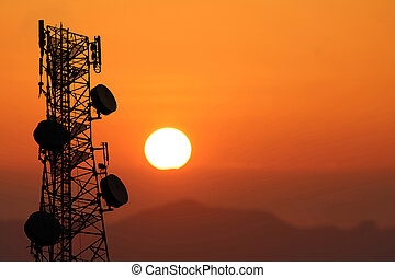 Telecommunication tower or poles, in the evening, Red sky sunset background
