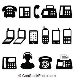 Various types of telephones in black