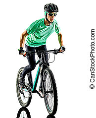 tenager boy mountain bike bking isolated shadows