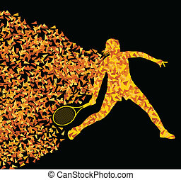 Tennis players active sports silhouette background illustration vector concept made of triangular fragments explosion for poster