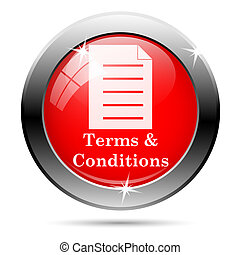 Terms and conditions icon with white on red background