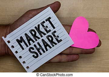 Text sign showing Market Share. Conceptual photo The portion of a market controlled by a particular company Man holding piece notebook paper heart Romantic ideas messages feelings.