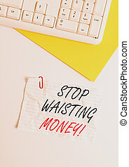Text sign showing Stop Wasting Money. Conceptual photo advicing demonstrating or group to start saving and use it wisely Flat lay above white blank paper with copy space for text messages.