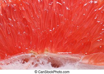 Texture of red grapefruit pulp. horizontal