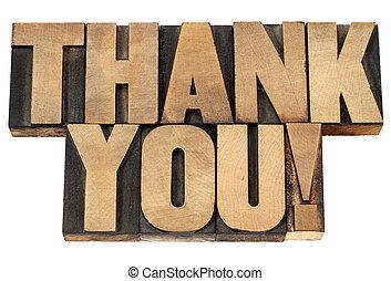 thank you in letterpress wood type