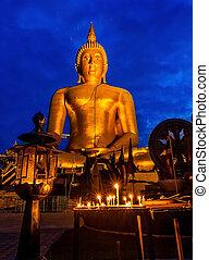 The Beautiful Statue Buddha at Wat Muang Temple Angthong Thailand