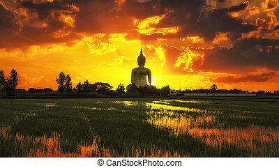 The Big Golden Buddha on sunrise at Wat Muang, Ang Thong, Thailand