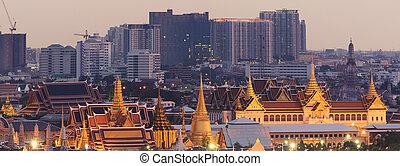 The Emerald Buddha at Sunset, Bangkok, Thailand