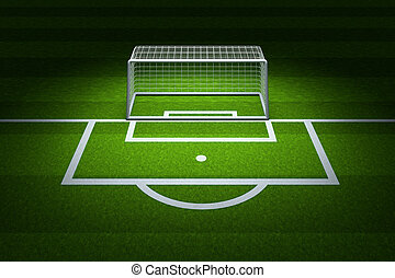 The empty football field with top light illuminated, 3d rendering.