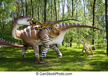 Jurassic park - set of dinosaurs - fight between Iguanodon bernissartensis and Deinonychus antirrhopus