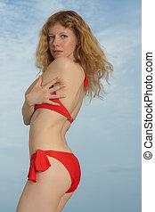 the girl in red bikini