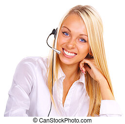 The girl the operator in headphones with a microphone