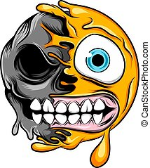 The monster half skull emoticon with big smile