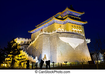 night view of the Qianmen tower
