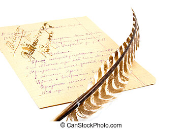 the quill and the paper sheet full of notes isolated on white background