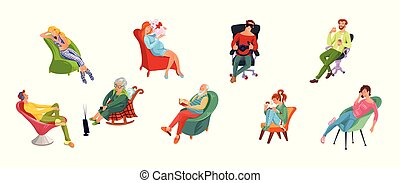 The set of various men and women relax sitting on different chairs. Vector illustration in flat cartoon style.