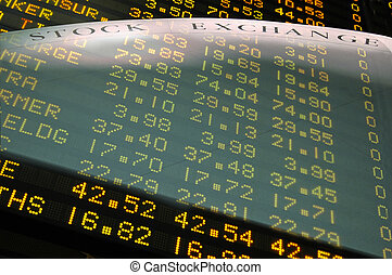 Creative Stock Exchange fusion - share price boards and floor design.